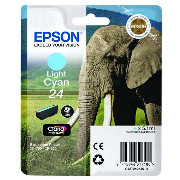 Original Epson C13T24254012 / 24 Cartouche d'encre cyan claire