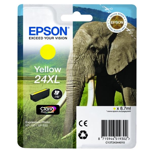 Original Epson C13T24344012 / 24XL Cartouche d'encre jaune