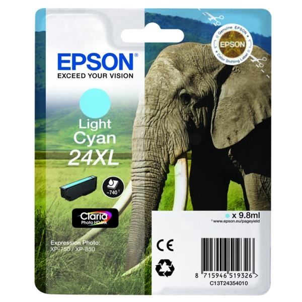 Original Epson C13T24354012 / 24XL Cartouche d'encre cyan claire