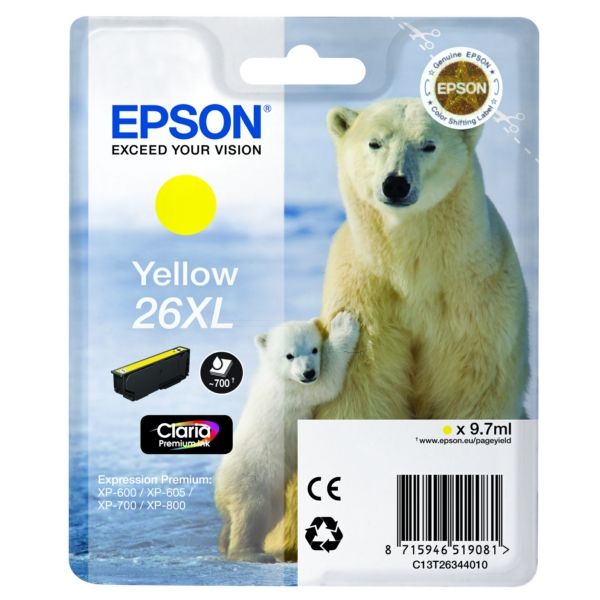 Original Epson C13T26344022 / 26XL Ink cartridge yellow