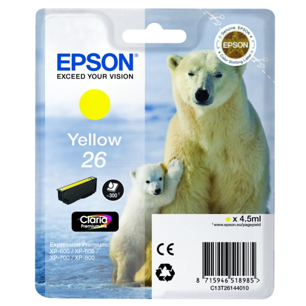 Original Epson C13T26144012 / 26 Ink cartridge yellow