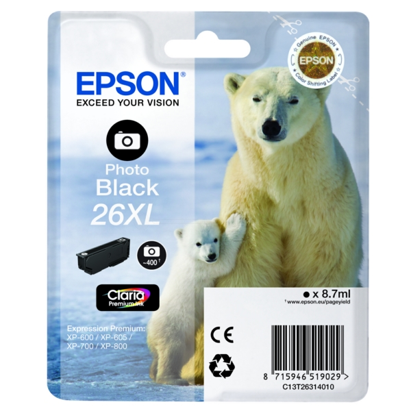 Original Epson C13T26314012 / 26XL Ink cartridge bright black