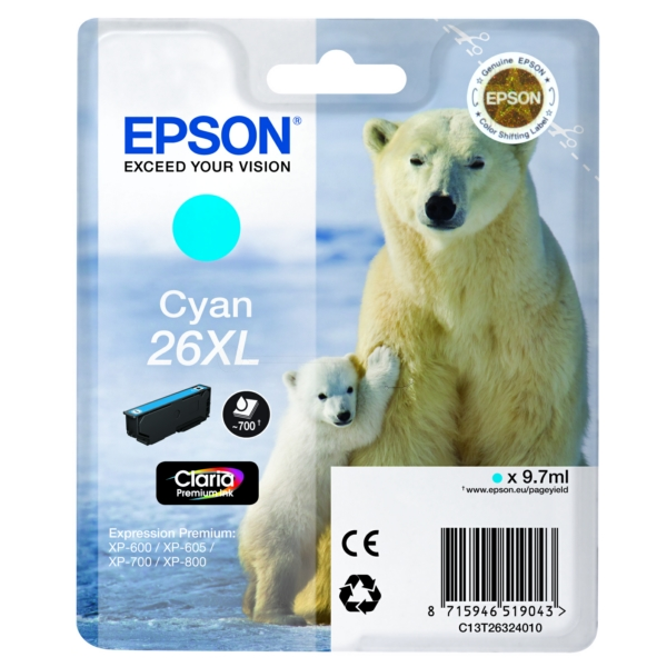 Original Epson C13T26324012 / 26XL Ink cartridge cyan