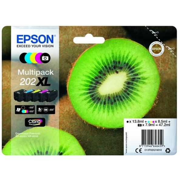 Original Epson C13T02G74010 / 202XL Tintenpatrone MultiPack