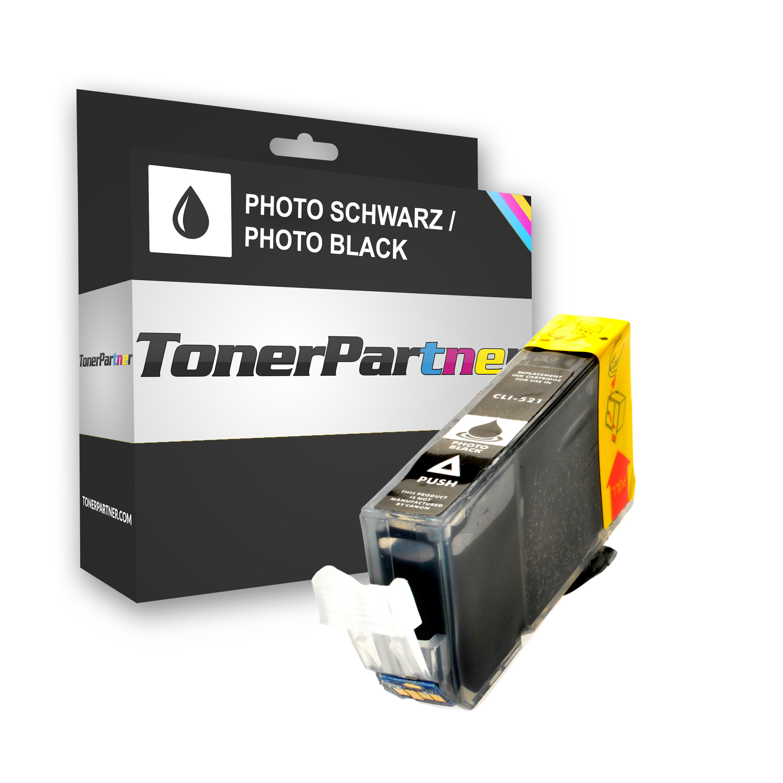 TonerPartenaire Canon 2933 B 001 / CLI-521 BK Cartouche d'encre noire