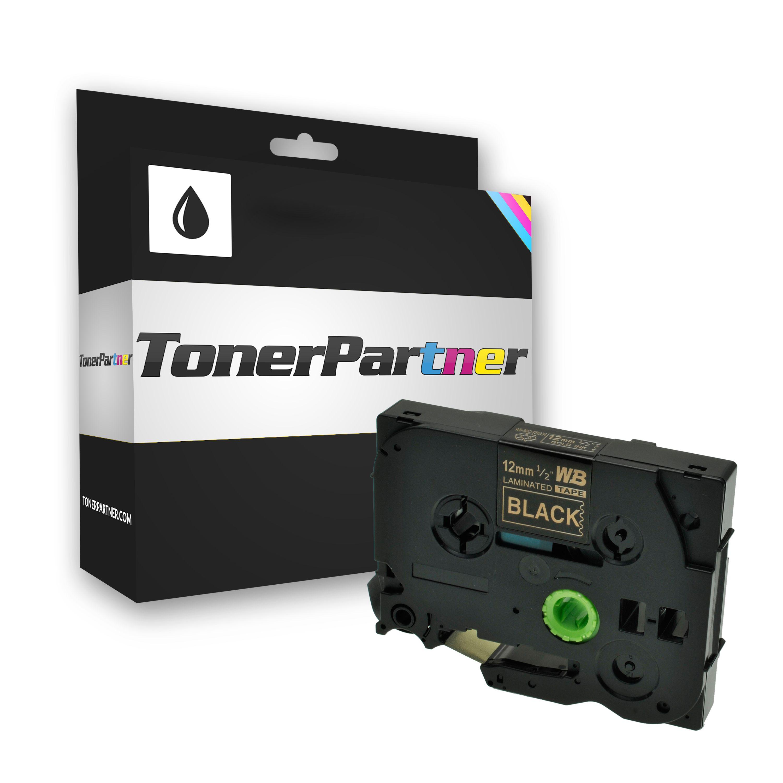 Brother TZE334 P-Touch Farbband gold auf schwarz Laminat 12mm x 8m für P-Touch Kompatibel