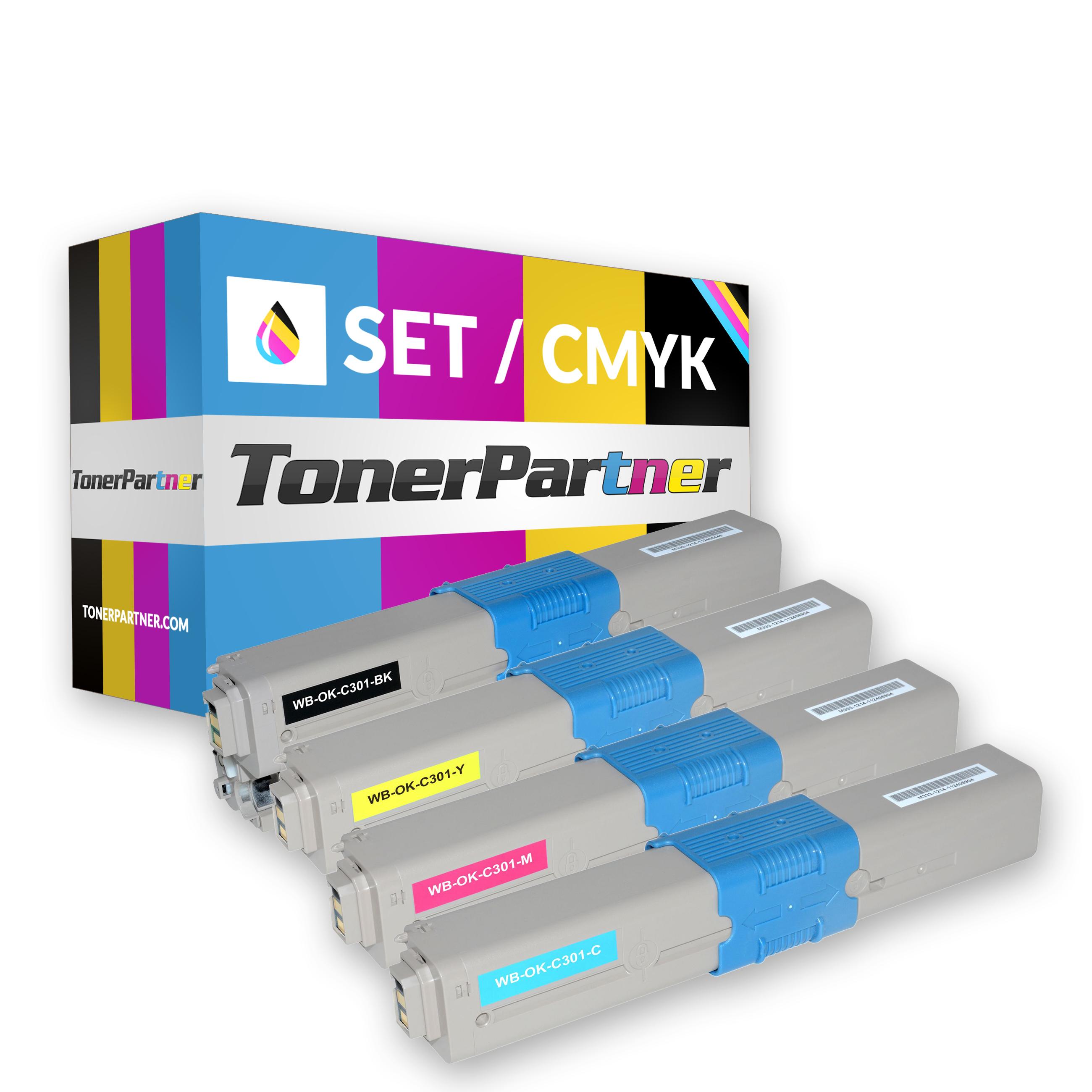 OKI 44973536 BK (1x 2.200 Seiten) 44973533 - 44973535 C/M/Y (3x 1.500 Seiten) Toner MultiPack Kompatibel