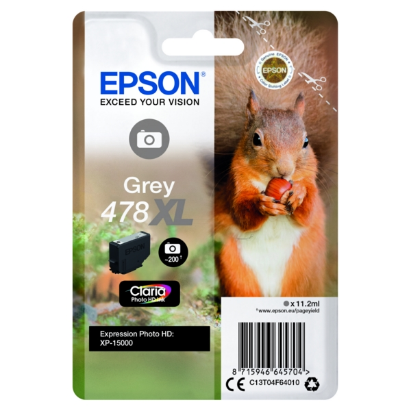 Original Epson C13T04F64010 / 478XL Tintenpatrone grau