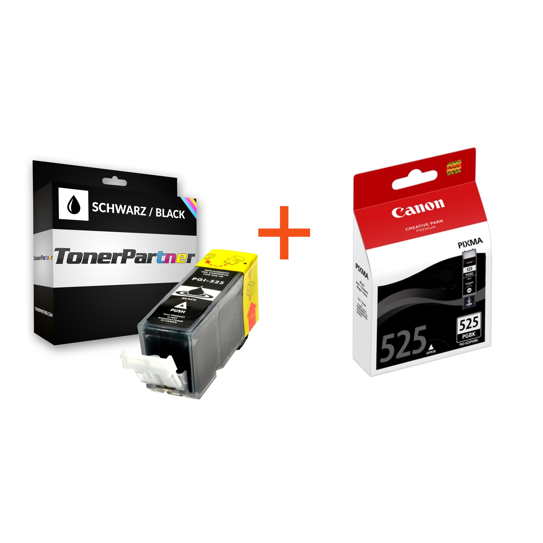 Original Canon 4529B001 / PGI-525PGBK Tintenpatrone + Kompatibel 4529B001 / PGI-525PGBK Tintenpatrone