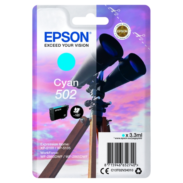 Original Epson C13T02V24020 / 502 Tintenpatrone cyan