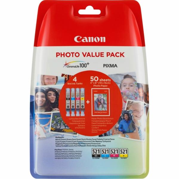 Original Canon 2933B011 / CLI521 Tintenpatrone MultiPack