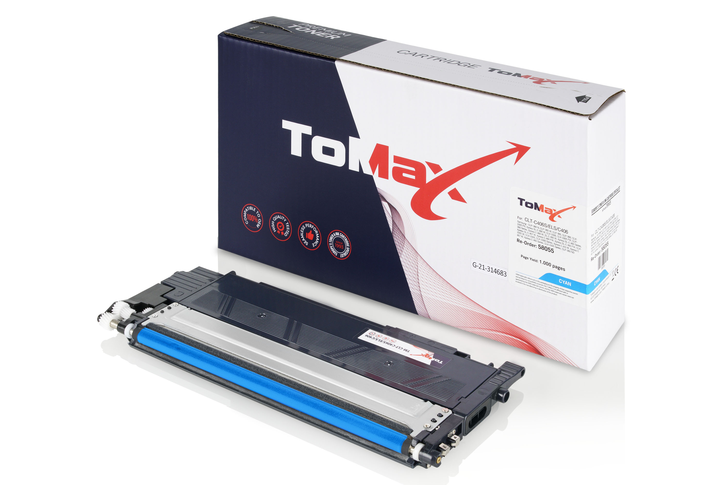 ToMax Premium Toner Cartridge replaces Samsung CLT-C406S (ST984A) / C406S Cyan