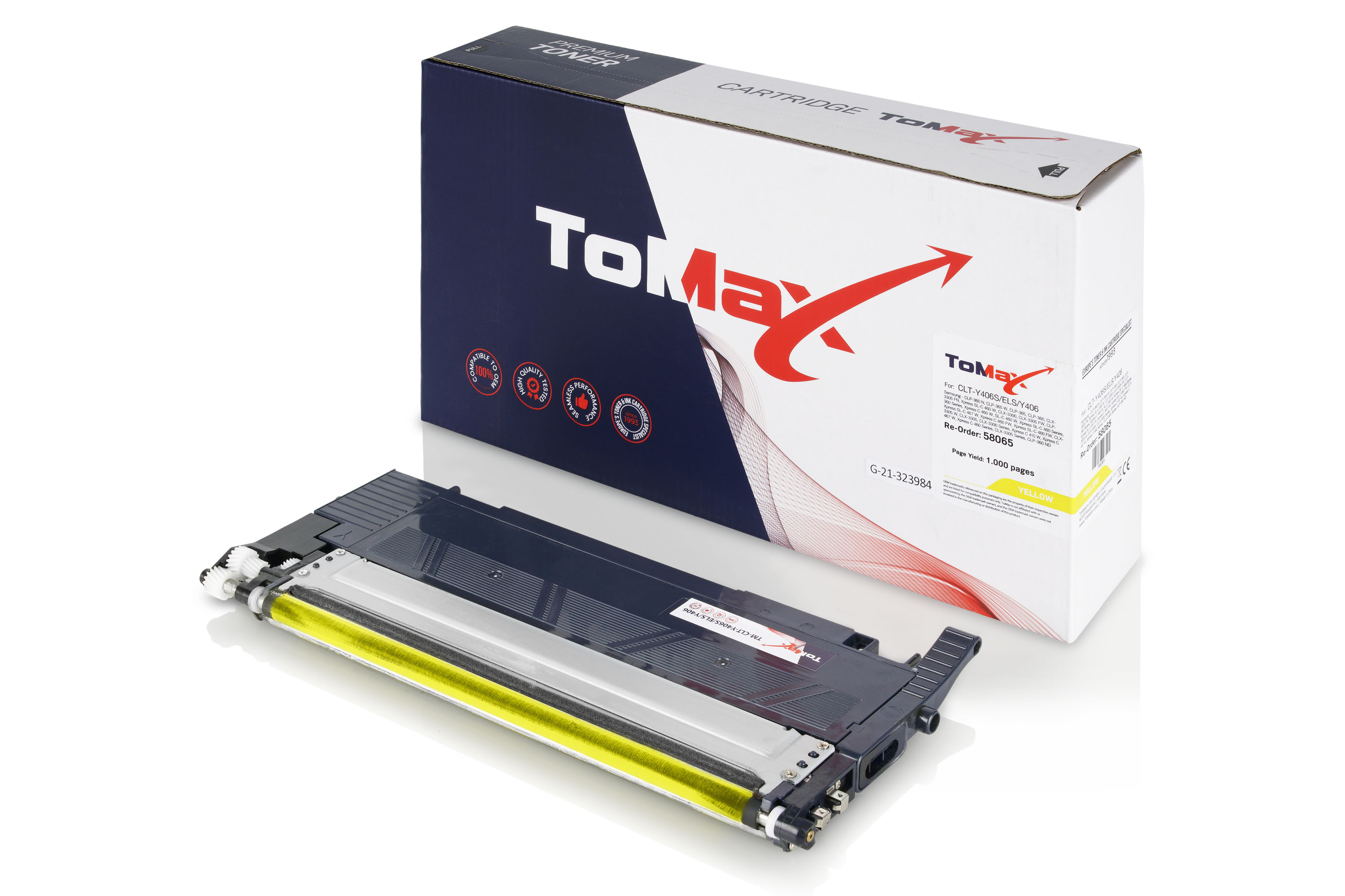 ToMax Premium Toner Cartridge replaces Samsung CLT-Y406S (SU462A) / Y406S Yellow