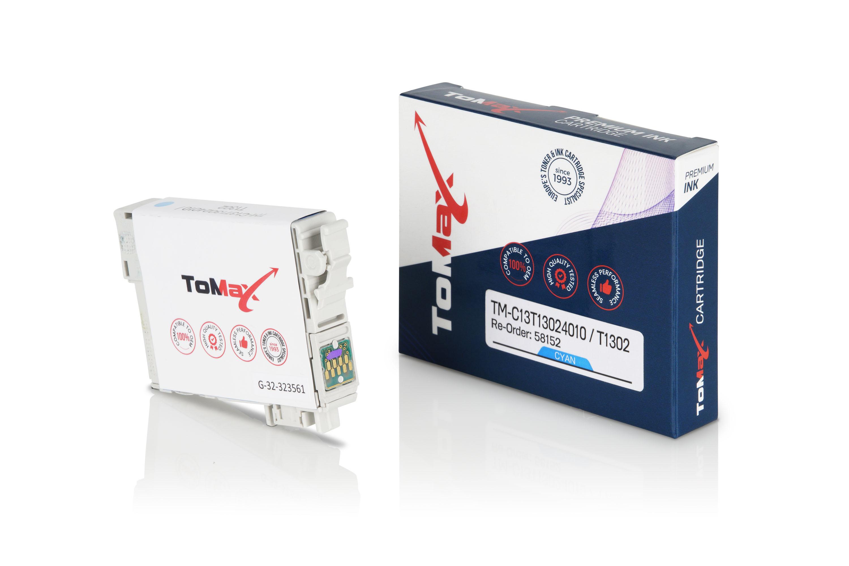 ToMax Premium Tintenpatrone ersetzt Epson C13T13024010 / T1302 XL Cyan