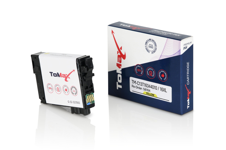 ToMax Premium Tintenpatrone ersetzt Epson C13T16344010 / 16XL Gelb