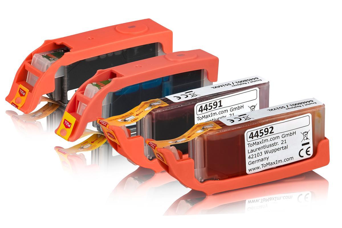 Kompatibel zu PGI-550XL / CLI-551XL Tinten Spar-Set (Schwarz, Schwarz Foto, Cyan, Magenta, Gelb) mit Chip
