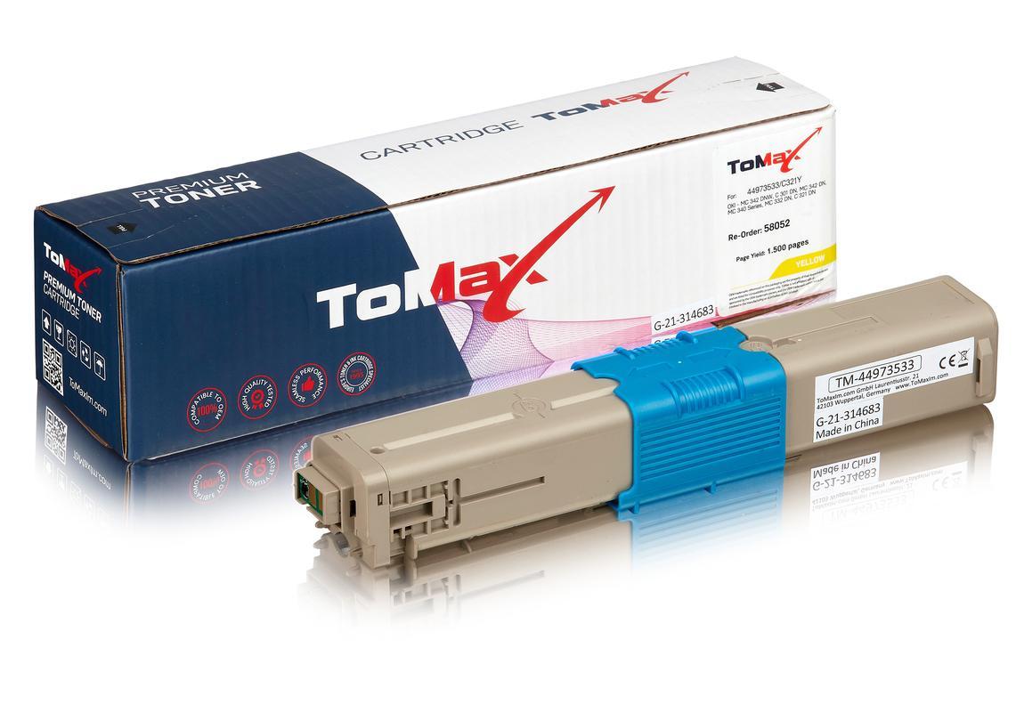 ToMax Premium ersetzt OKI 44973533 / C301 Toner Gelb