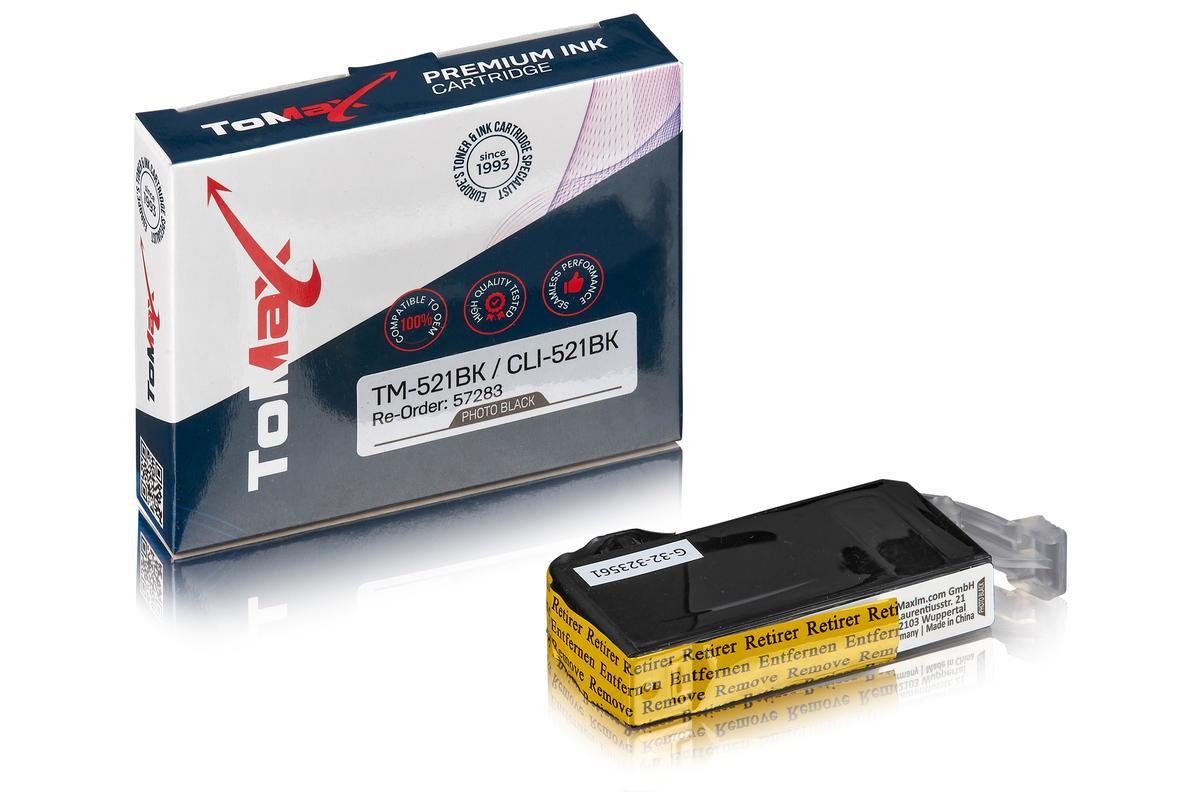 ToMax Premium ersetzt Canon 2933B001 / CLI-521BK Tintenpatrone, foto schwarz