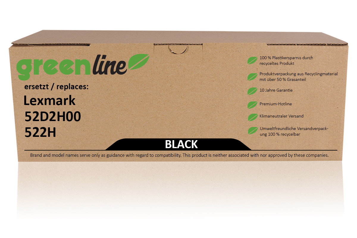 greenline ersetzt Lexmark 52D2H00 / 522H Tonerkartusche, schwarz