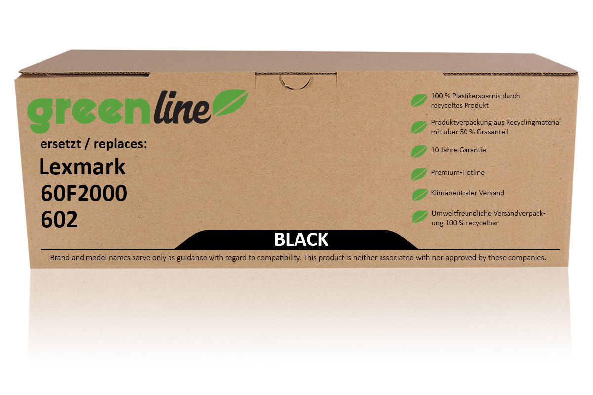 greenline ersetzt Lexmark 60F2000 / 602 Tonerkartusche, schwarz