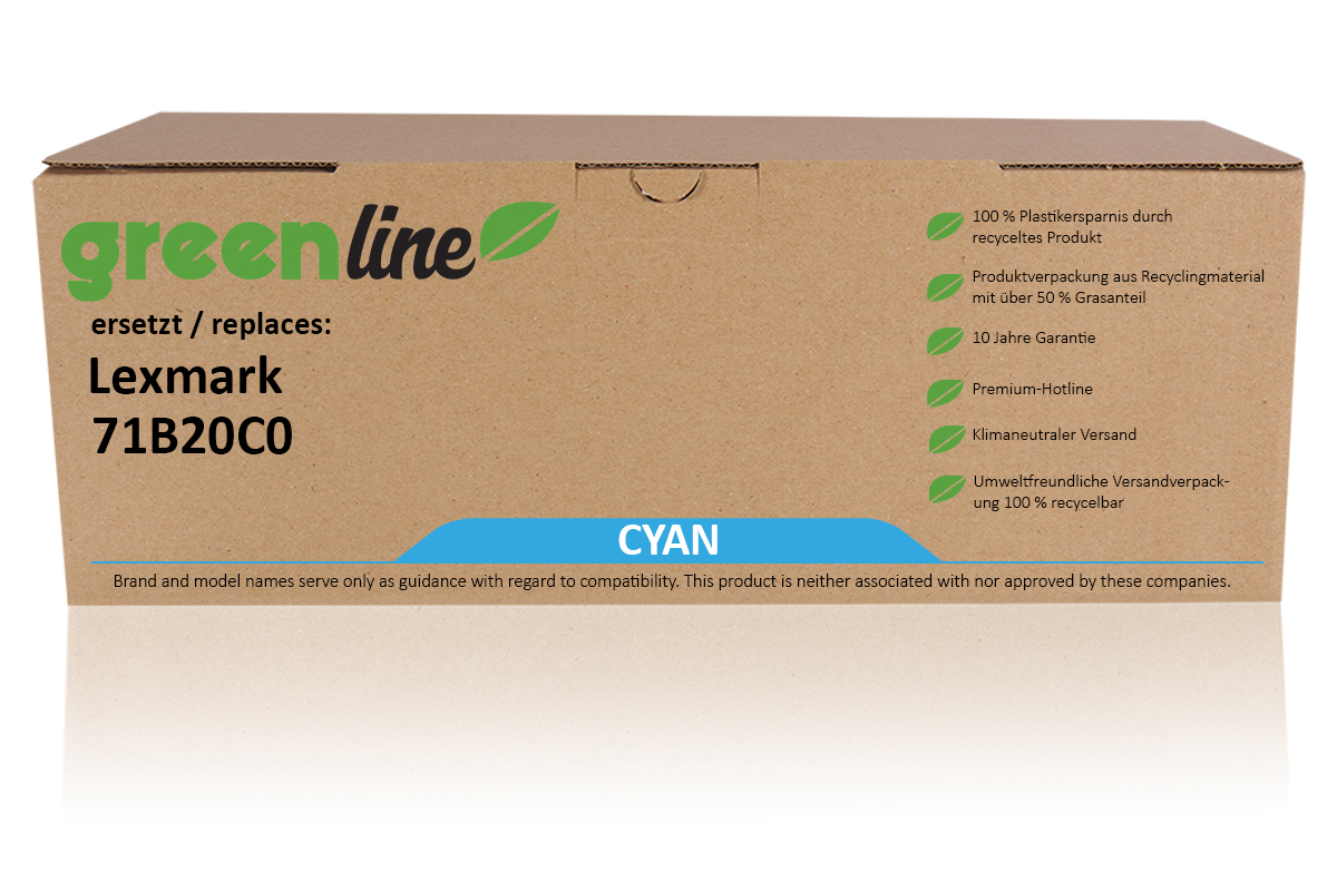 greenline ersetzt Lexmark 71B20C0 Tonerkartusche, cyan