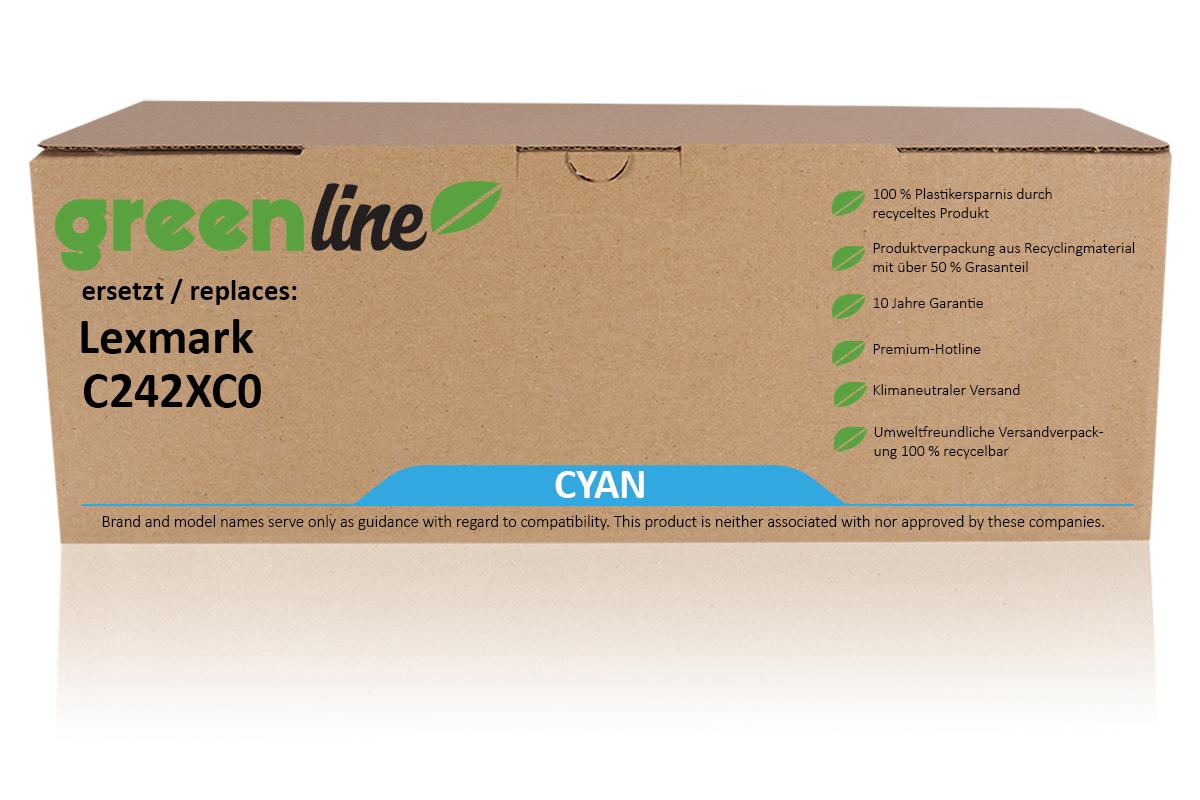 greenline ersetzt Lexmark C242XC0 Tonerkartusche, cyan