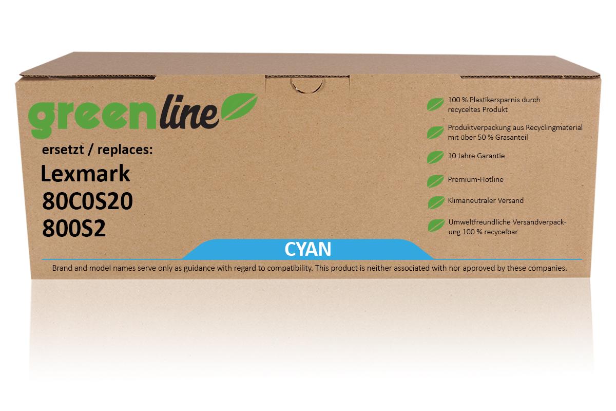 greenline ersetzt Lexmark 80C0S20 / 800S2 Tonerkartusche, cyan