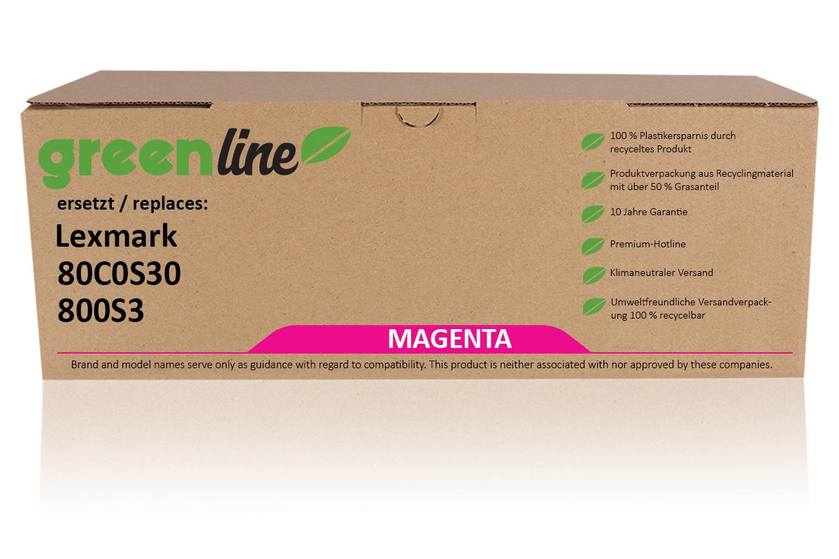 greenline ersetzt Lexmark 80C0S30 / 800S3 Tonerkartusche, magenta