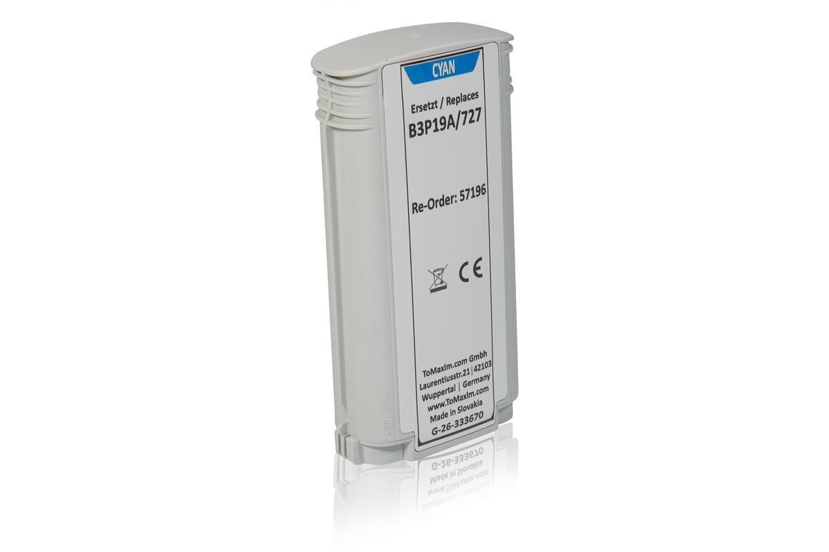 Alternative à HP B3P19A / 727 Cartouche d'encre, cyan
