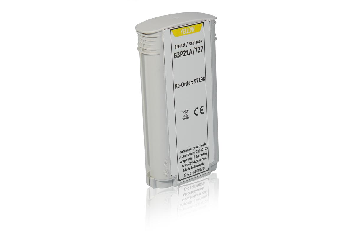 Alternative à HP B3P21A / 727 Cartouche d'encre, jaune