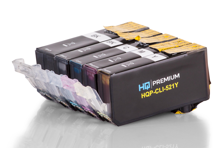 HQ-Premium Tintenpatrone ersetzen Canon PGI-520PGBK, CLI-521 Spar-Set (Schwarz, Schwarz Foto, Cyan, Magenta, Gelb)