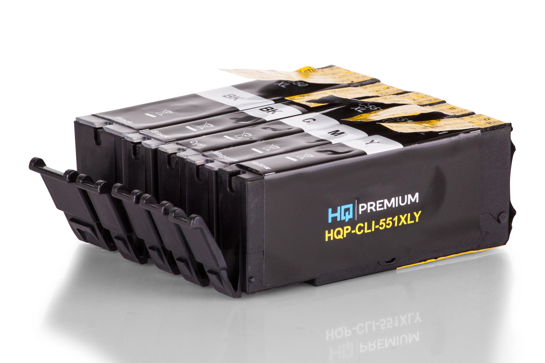 HQ-Premium Tintenpatrone ersetzen Canon PGI-550PGBKXL, CLI-551 XL Spar-Set (Schwarz, Schwarz Foto, Cyan, Magenta, Gelb)